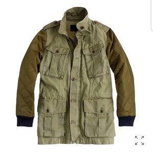 J Crew//Quilted boyfriend fatigue utility jacket